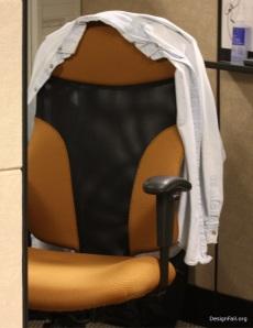 Chair in underwear